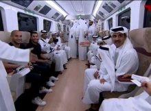 صاحب السمو يستقل مترو الدوحة للتوجه لاستاد الجنوب (فيديو)